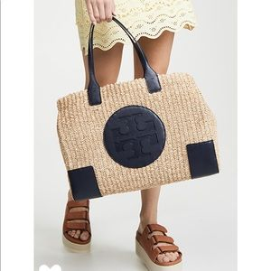 NWOT!Tory Burch Ella Straw tote with Navy leather.